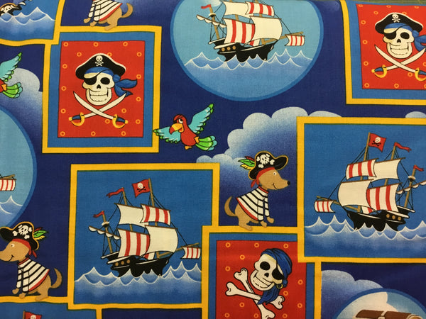Children's Fabric, Pirate Fabric, Dead Man's Cove, Squares 7185 - Beautiful Quilt