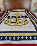 Military Fabric, Navy Fabric, Completed quilt with Logo, Not for Sale. 2218 - Beautiful Quilt