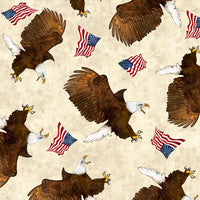 Patriotic Fabric, Eagle Fabric, Eagles with flags on Beige, 2276