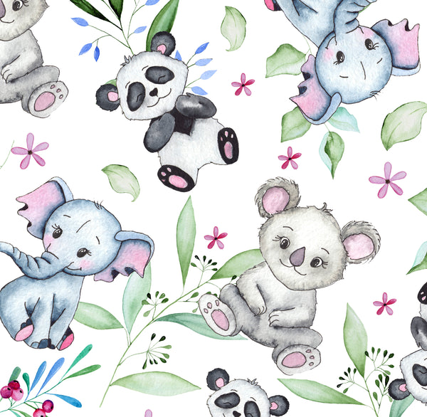 Children's Animal Fabric, Watercolor, Elephant and Bears, Cotton or Fleece 2283 - Beautiful Quilt