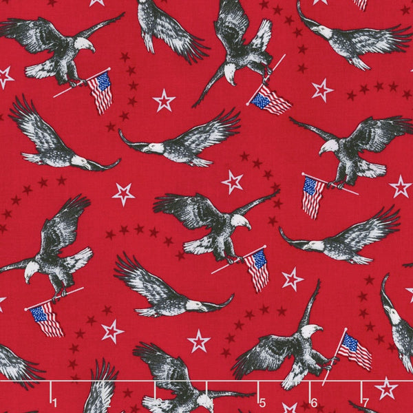 Patriotic Fabric Windham Liberty Eagles Red 5590