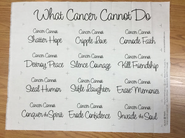 "Cancer Fabric, ""What Cancer Can Not Do"" Cream 845 - Beautiful Quilt"