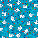 Religious Fabric, Dove Fabric on Blue, 3745 - Beautiful Quilt