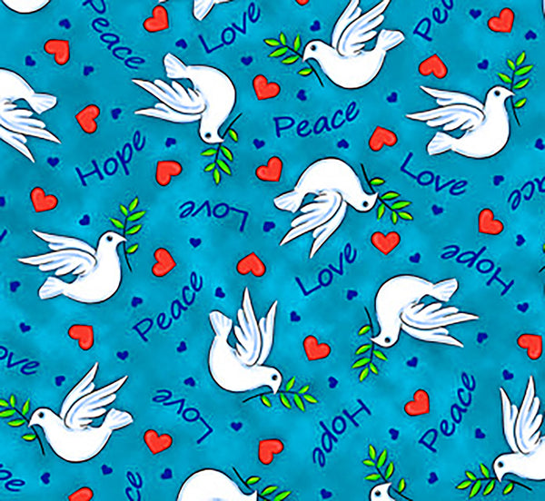 Religious Fabric, Small Dove Fabric, Hope, Love, Peace, 3743 - Beautiful Quilt