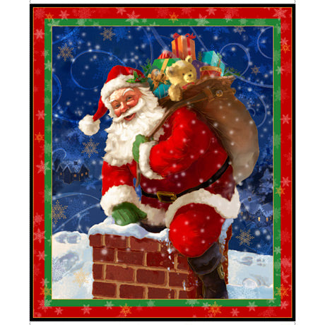 Christmas Fabric, Santa climbing in the Chimney, 3406 - Beautiful Quilt