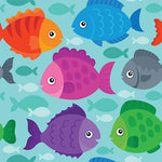 Childrens Fabric, Custom Print Fabric, Multi Size Whimsical Fish, cotton or fleece 5596 - Beautiful Quilt