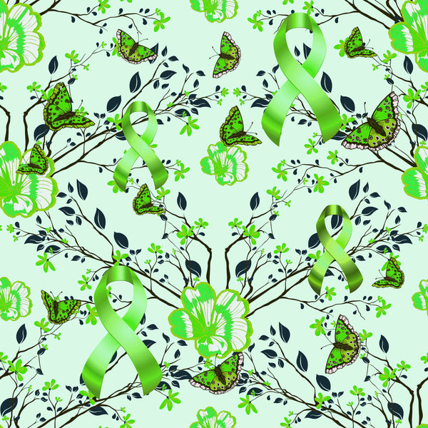 Cancer Fabric, Lymphoma Cancer Fabric, Butterflies Lime Green, Cotton and Fleece 7115 - Beautiful Quilt