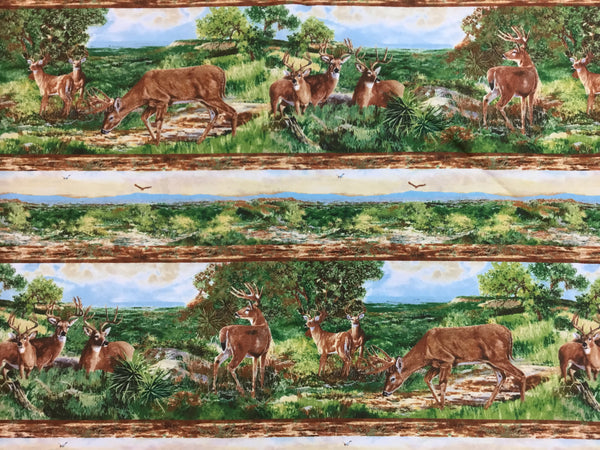 Flannel Fabric, Wildlife Fabric, A Change of Scenery, Deer Border Fabric 7225