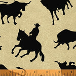 Western Fabric Round Em Up horse and cow 3035