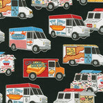 Car Fabric Truck Fabric Food Trucks Black 4637 - Beautiful Quilt