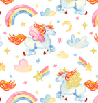 Unicorn Fabric, Yellow, Orange, Blue and Pink Unicorns, Cotton or Fleece, 3411