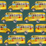School Bus Fabric, Yellow School Bus on Green, Cotton or Fleece, 3421 - Beautiful Quilt