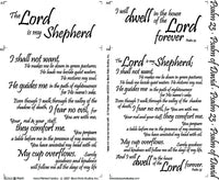 Religious Fabric, Scripture Fabric, Panel, Psalm 23 Script White 4155 - Beautiful Quilt