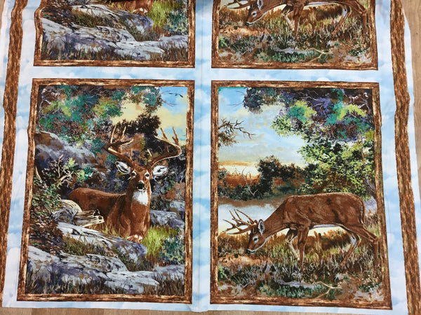 Flannel Fabric, Wildlife Fabric, A Change of Scenery, Deer Panel 7224