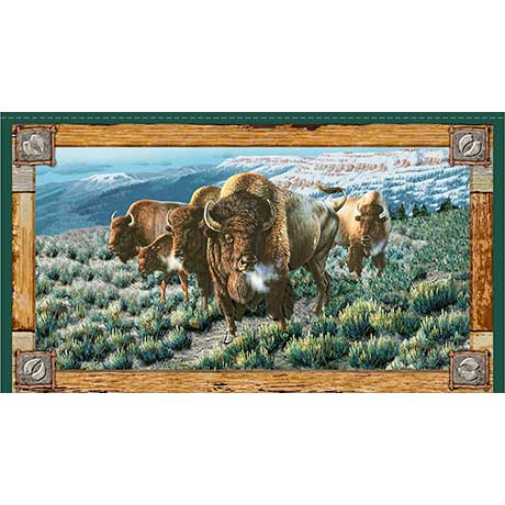 Wildlife Fabric, Buffalo Fabric Panel 5515