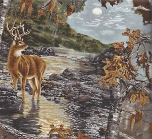 Wildlife Fabric,  Deer Fabric, Real Tree, Moonlit Night 4042 - Beautiful Quilt