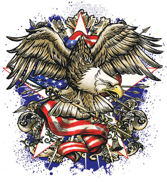 Patriotic Fabric, Eagle Fabric Custom Printed Panel 5512