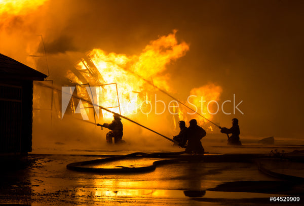 Fire Fighter Fabric In The Flames Fighting a House Fire 5769
