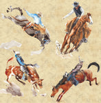 Western Fabric, Bucking horse, bulls, Cotton or Fleece 2218 - Beautiful Quilt