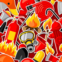 Fire Fighter Fabric, Custom Print Fabric, Equipment on Red 5747 - Beautiful Quilt