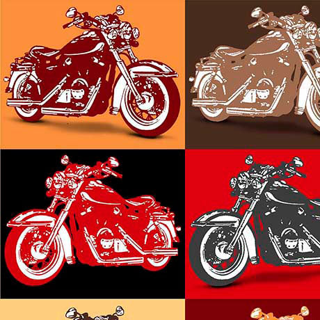 Motorcycle Fabric Biker for Life, Patches red and black 5640