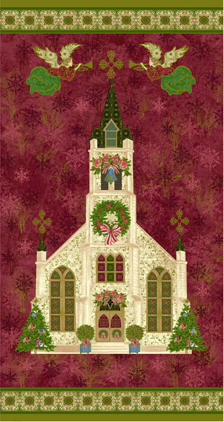 Christmas Fabric PBS Silent Night Cathedral Panel 5079