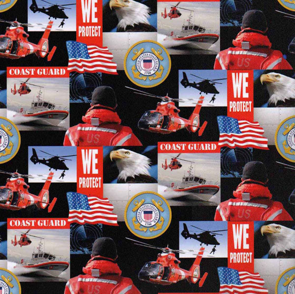 Military Fabric, Coast Guard Fabric, Emblem 4512 - Beautiful Quilt