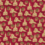 Christmas Fabric PBS Silent Night Churches 5081