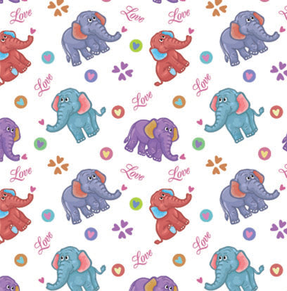 Children's Fabric,  Cartoon Elephant Fabric Love, Cotton or Fleece 5602 - Beautiful Quilt