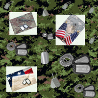Military Fabric, Army Fabric, Dog Tags, Cotton or Fleece 5871 - Beautiful Quilt