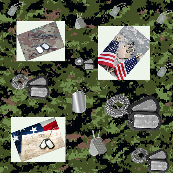 Military Fabric, Army Fabric, Custom Print Fabric, Dog Tags 5871 - Beautiful Quilt