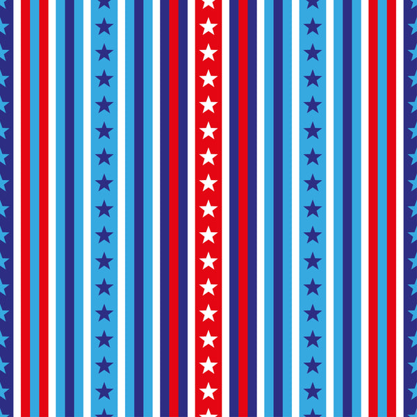 Patriotic Fabric, Custom Print Fabric, Red White and Blue Stripes with Stars 2130