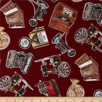 Novelty Fabric EQ Vintage Gadgets all over print maroon 4040