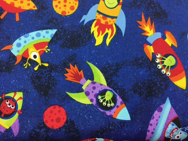 Children's Fabric, Space Fabric, Timeless Treasures, Space Ships with Aliens 7195 - Beautiful Quilt