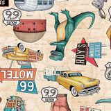 Car Fabric, Motorin Collection, Route 66 5964 - Beautiful Quilt