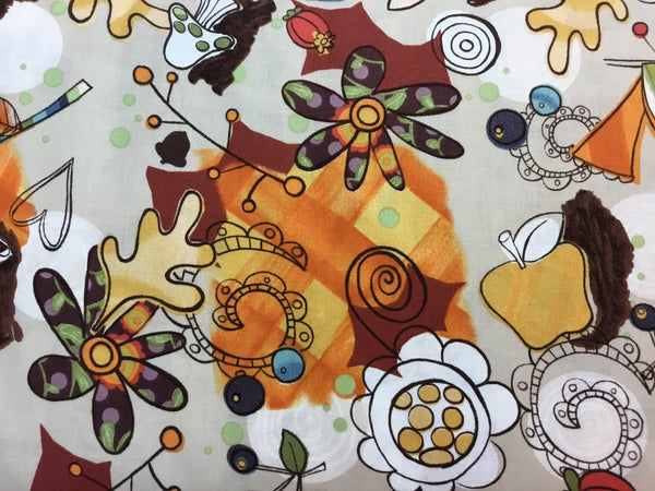 Z Flower Fabric, Walk in the Woods, Fall Flower Fabric 7152