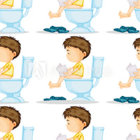Children's Fabric, Custom Print Fabric, On the Potty Cartoon Figures 20-5808 - Beautiful Quilt