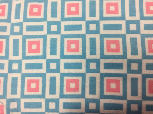 Flannel Fabric, Onesies and Things, Geometric Blue and Pink 7219