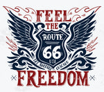 Motorcycle Fabric Route 66 Feel the Freedom 5828