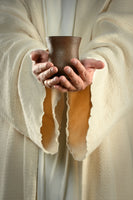Religious Fabric, Communion Fabric, Jesus Fabric Panel, Hands Holding Cup 7215