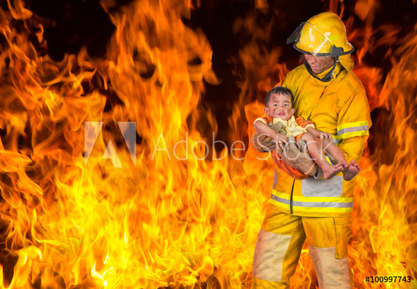Fire Fighter Fabric In the Flames with Baby 5745