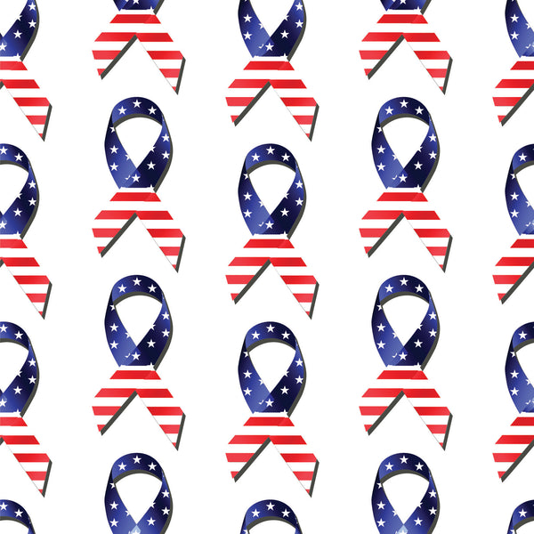 Patriotic Fabric, Custom Print Fabric, Red White and Blue Awareness Ribbons 7124