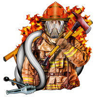 Fire Fighter Fabric Firefighter with Helmet Axe Hose 5766