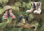 Military Fabric, Army Fabric, Custom Print Panel, Army Boots 5873 - Beautiful Quilt