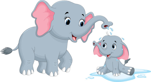 Childrens Fabric Cartoon Mom and Baby Elephant Fabric 5864