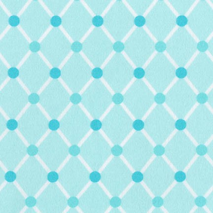 Flannel Fabric, Cozy Cotton, Diamond & Dots Aqua 4892 - Beautiful Quilt