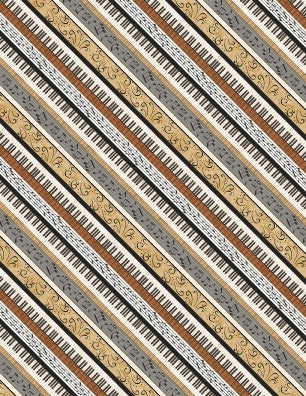 Music Fabric, Classically Trained, Diagonal Stripe 7021 - Beautiful Quilt