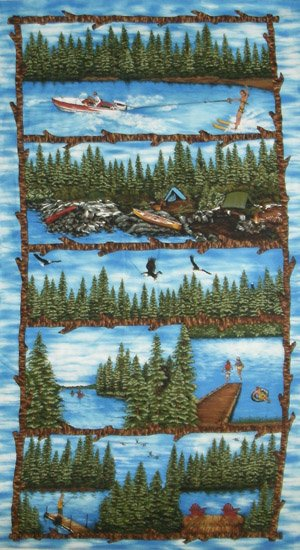 Wildlife Fabric, Camping Fabric, Summer Vacation, Panel - Beautiful Quilt