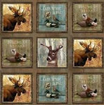 Wildlife Fabric, Moose Fabric, Duck Fabric Panel 7042 - Beautiful Quilt