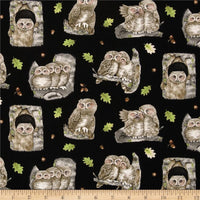 Bird Fabric, Owl Fabric, Hoo's Tree All Over Print Owls Black 7054 - Beautiful Quilt